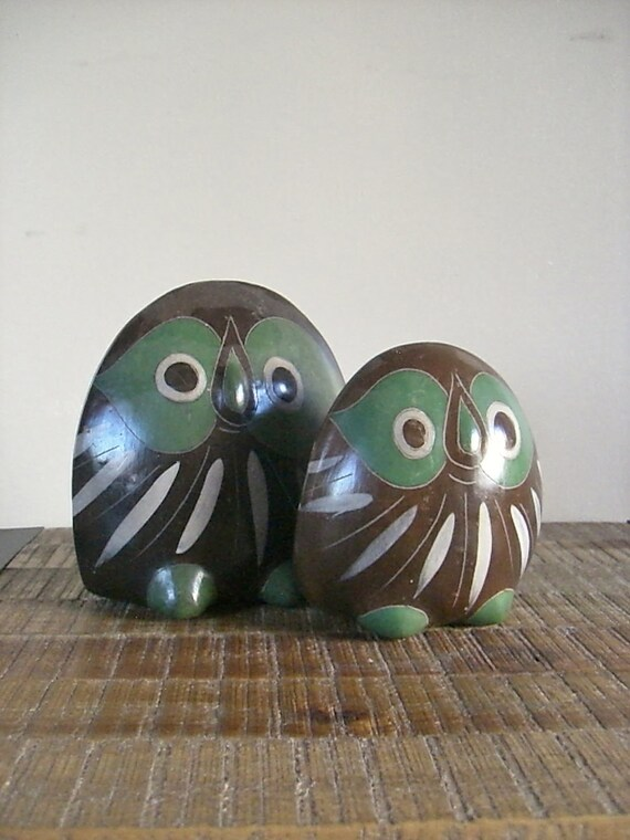 Pair of Vintage Mexican Pottery Owls