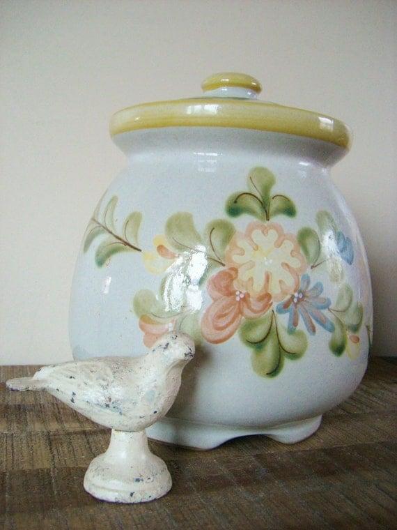 Vintage Louisville Stoneware Country Flower Cookie Jar
