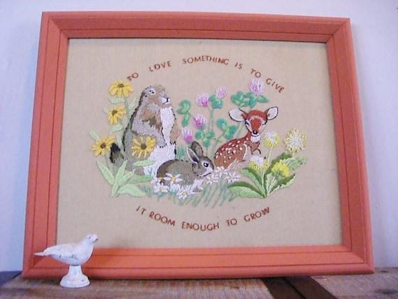 Large Vintage Embroidered Woodland Scene