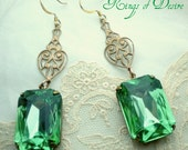 Vintage Medium Emerald Green Crystal and Antique Copper Earrings