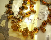 Earthy Eclectic Amber Tiger-Striped Czech Glass Necklace