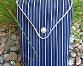 SALE - Navy Blue with Silver Stripes & Silver Trim Padded iPad Sleeve/Slip Case