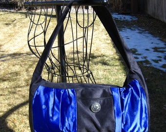 Over the Shoulder Purse Black Suede and Blue Brocade Fabric