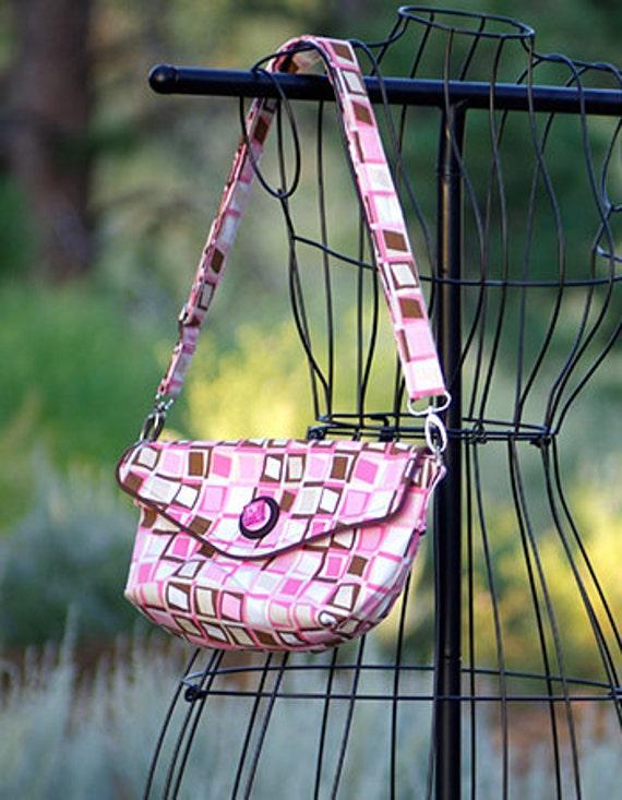 Crossbody Purse in Pink & Brown Fabric