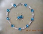 Blue Ice Topaz Necklace & Earrings, Blue Topaz Earrings, Sterling Silver Necklace, Topaz Necklace, Topaz Necklace, Rose Quartz Necklace,