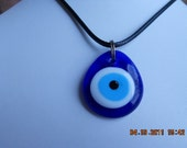 Good Luck, Lucky, Amulet  Evil Eye Necklace, Glass Eye Necklace, Protection Necklace, Cord Necklace, Blue Necklace, Blue Eye, Eyeball Neckla