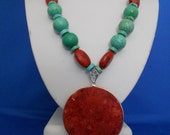 Free shipping, Turquoise & Coral Necklace, Southwestern Necklace, Coral,  Statement  Necklac  Women Jewelry Under 40 Necklace  Boho Necklace