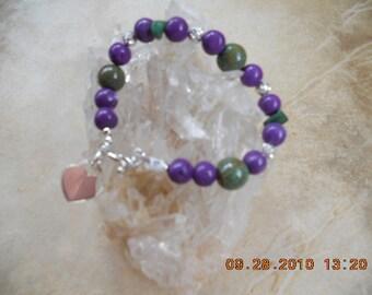 Mothers  Jewelry, Heart Charm Bracelet, Beaded Bracelet, Silver Heart Charm, Heart Charm, Sterling Silver Heart,  Purple Bracelet, Bracelet
