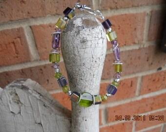 Beaded Purple & Green Bracelet