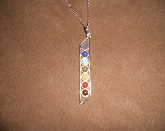 Chakra Pendant Necklace, Chakra Necklace, Free Shipping in USA , Rainbow Pendant, Unisex Necklace, Reiki Necklace, Psychic,  Jewellry