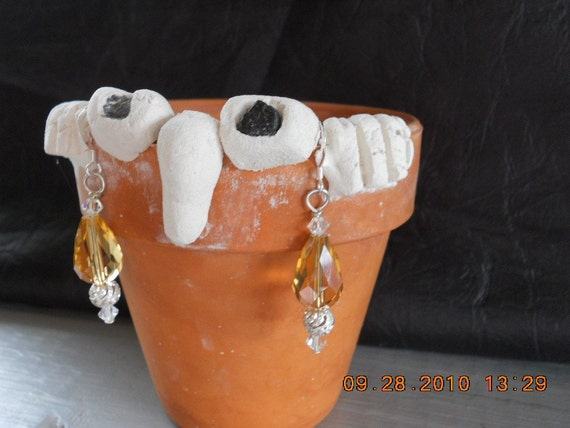 Faceted Teardrop Earrings, Crystal Earring, Bling, Gold Earrings, Citrine Earrings, Swarvoski Earrings, Citrine Bead, Fancy Earrings, Holida