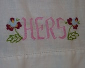 Vintage Embroidered His and Hers Linen  Pillow Case set pink green and purple