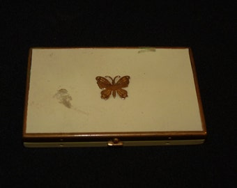 Lucretia Vanderbilt Enamel Butterfly White and Gold Vintage Compact bc1