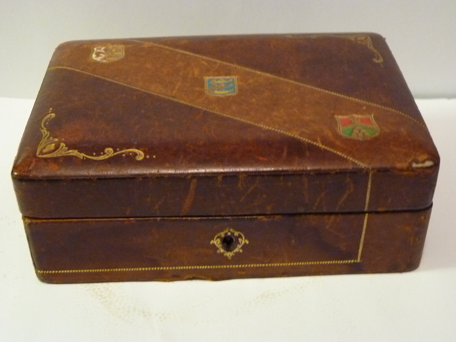 Vintage Italian Leather Box - Fatto a Mano Antiques