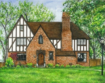 Watercolor painting- Commissioned House Portraits