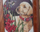 COMPLETED CROSS STITCH - Yellow labrador puppy