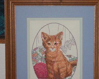 COMPLETED CROSS STITCH  - Purrfect Playthings