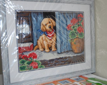 COMPLETED NEEDLEPOINT - Patriotic Puppy