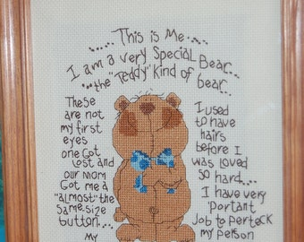 COMPLETED CROSS STITCH - A Very Special Teddy Bear