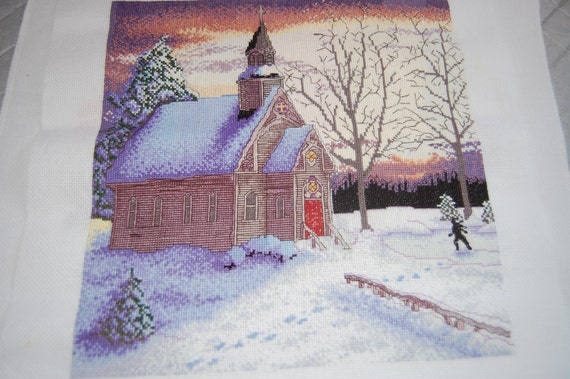 COMPLETED CROSS STITCH - Church In the Winter