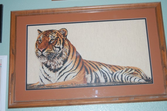 COMPLETED CROSS STITCH - Regal Bengal Tiger
