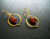 Lotus Petal Earrings - 24K gold vermeil with carnelian