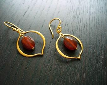 Lotus Petal Earrings - 24K gold vermeil with carnelian