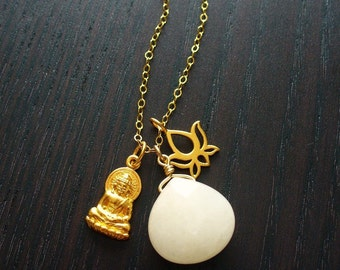 Buddha and Lotus Charm Gold Necklace