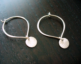 Silver Lotus Petal Hoop with Brushed Silver Coin