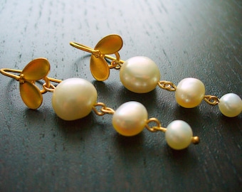 Gold Petal and White Freshwater Pearl Earrings