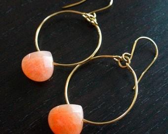 Gold Hoop Earrings with Peach Jade