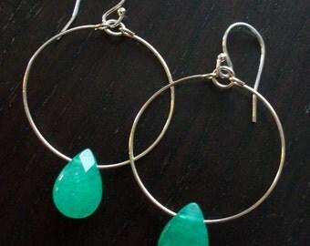 Silver Hoop Earrings with Green Jade