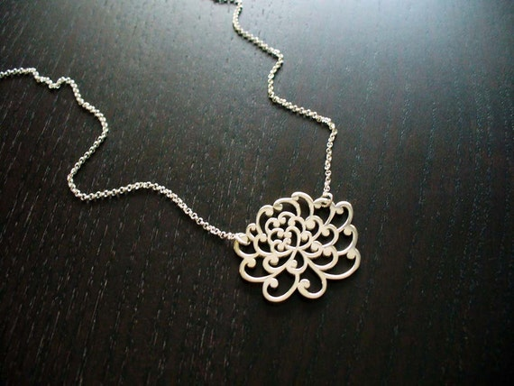Sterling Silver Chrysanthemum Necklace