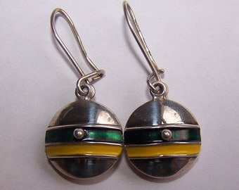 Vintage Two Piece Green and Yellow Enamel Earrings