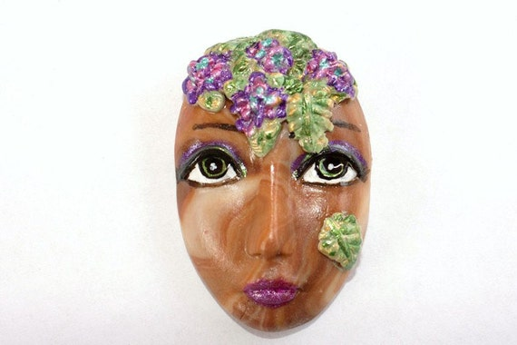 Polymer Clay Tree Goddess Lady Face Cabochon