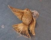 Sale 15% off marked price De Nicola gold tone humming bird, Mocking Jay, brooch, pin