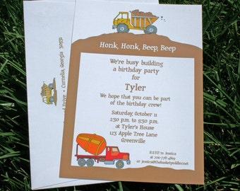 Construction Birthday Invitation - printed or digital