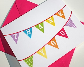 Colorful Thank You Note Cards - thank you notes - baby shower notes - wedding shower thank you notes
