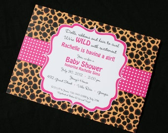 Cheetah Print Invitations for Baby Shower, Bachelorette Parties, Birthdays