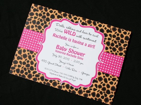 cheetah print invitations for baby shower bachelorette parties