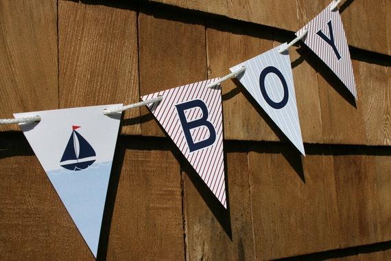 Nautical Sailboat Baby Shower Banner