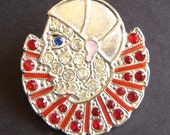 Vintage Pierrot The Sad Clown Rhinestone and Enamel Brooch