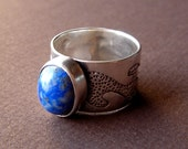 Sterling Silver Wave Ring with Lapis Cabochon