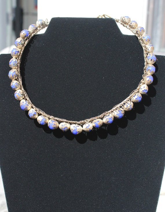 Vintage Choker with Cobalt Blue Beads and Brass Cups Wire and Chain