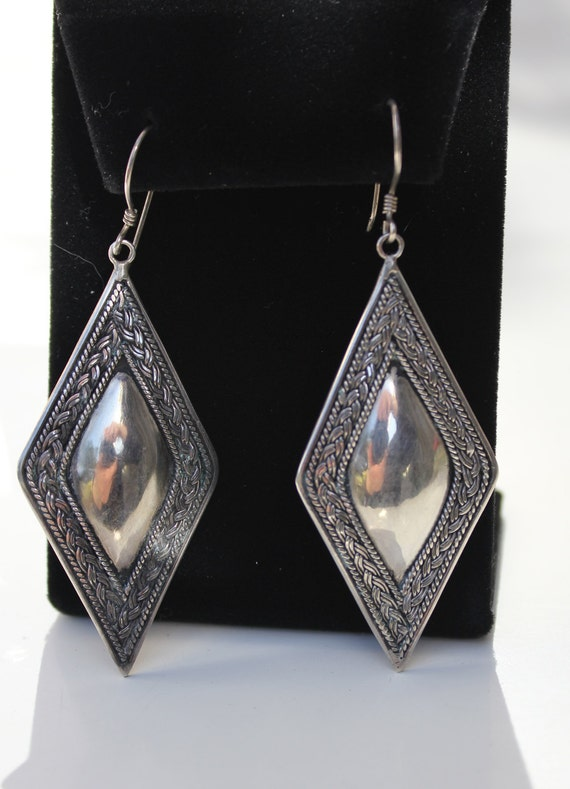 Vintage Sterling Silver Diamond Domed Earrings Beautiful and Heavy Tribal Style