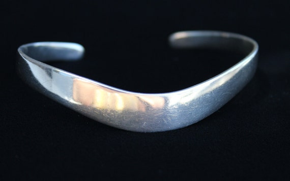 Vintage Sterling Silver Curved Cuff Bracelet for Small Wrist