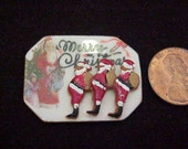 Dollhouse Miniature one inch scale Christmas  Santa Claus Cookies  on fancy porcelain tray IGMA Fellow J. Uyetake