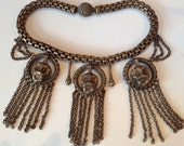 Reserved for HollyGoVintage - Deco Fringe Chain Pansies Choker Necklace 1930s Jewelry