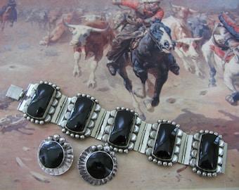Mexican Silver Onyx Bracelet plus Earrings