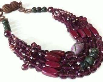 Sumptuous Purple Glass Bib Necklace